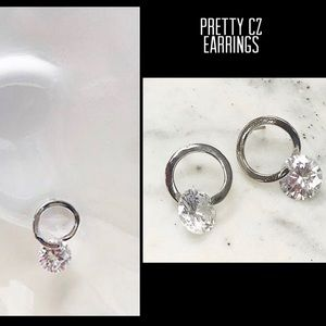 Cubic Zirconia Circle Drop Earrings,NWT